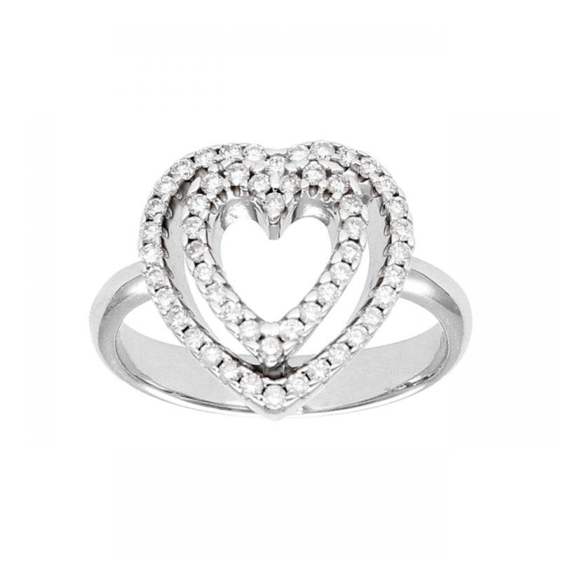 Ring aus Weißgold mit Herzen und Diamanten