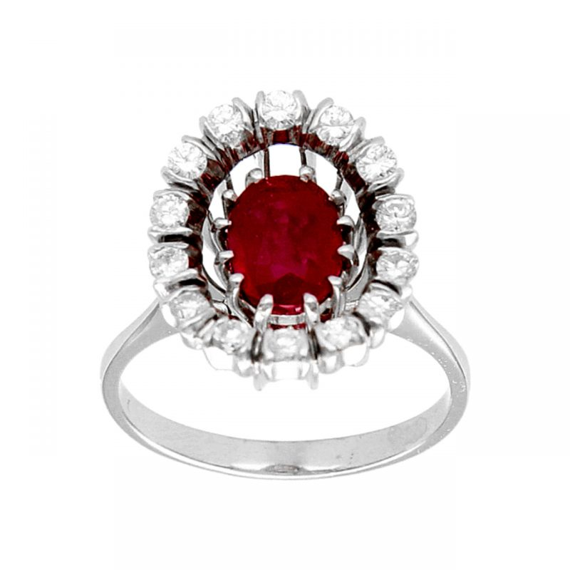 Anello in oro bianco con Rubino e Diamanti 0,55 ct