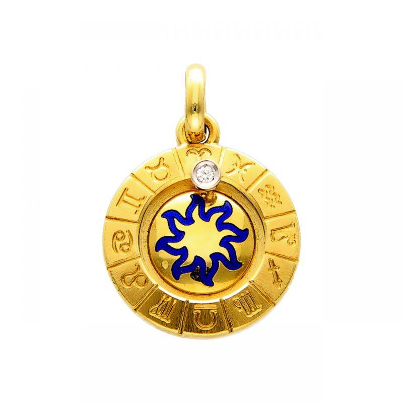 Zodiac pendant yellow gold with diamond