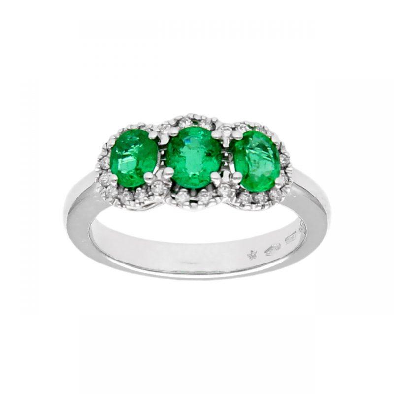 LeoPizzo Trilogy Ring aus Weißgold mit Smaragd und Diamanten