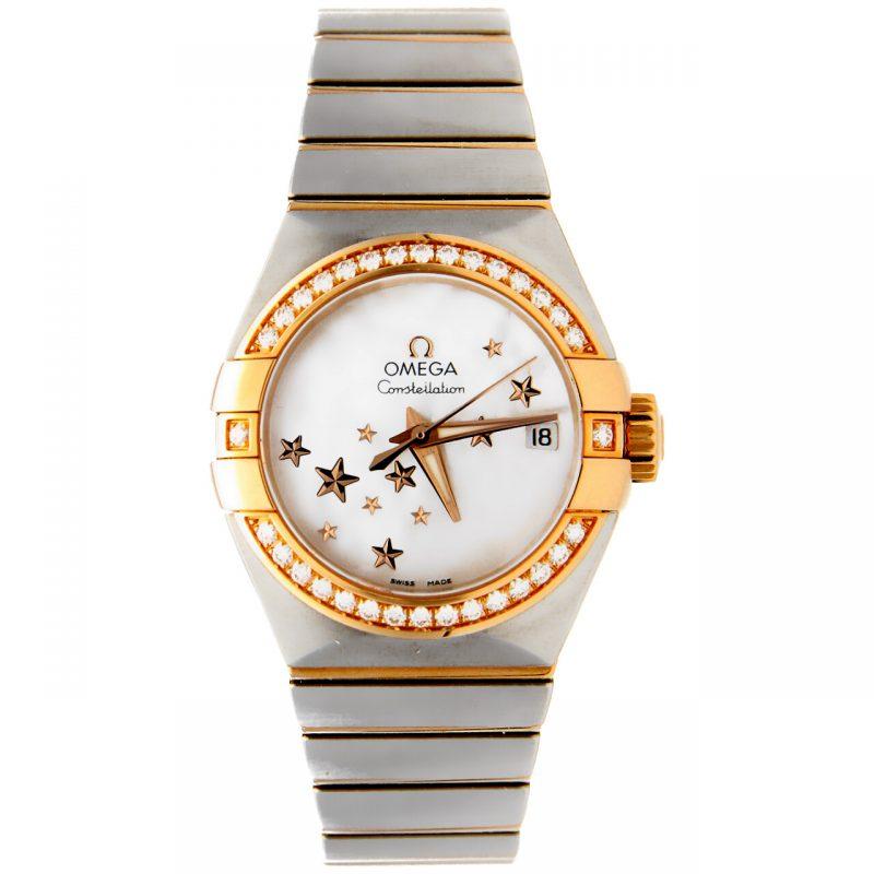 Orologio Omega Constellation in acciaio/oro rosa e diamanti
