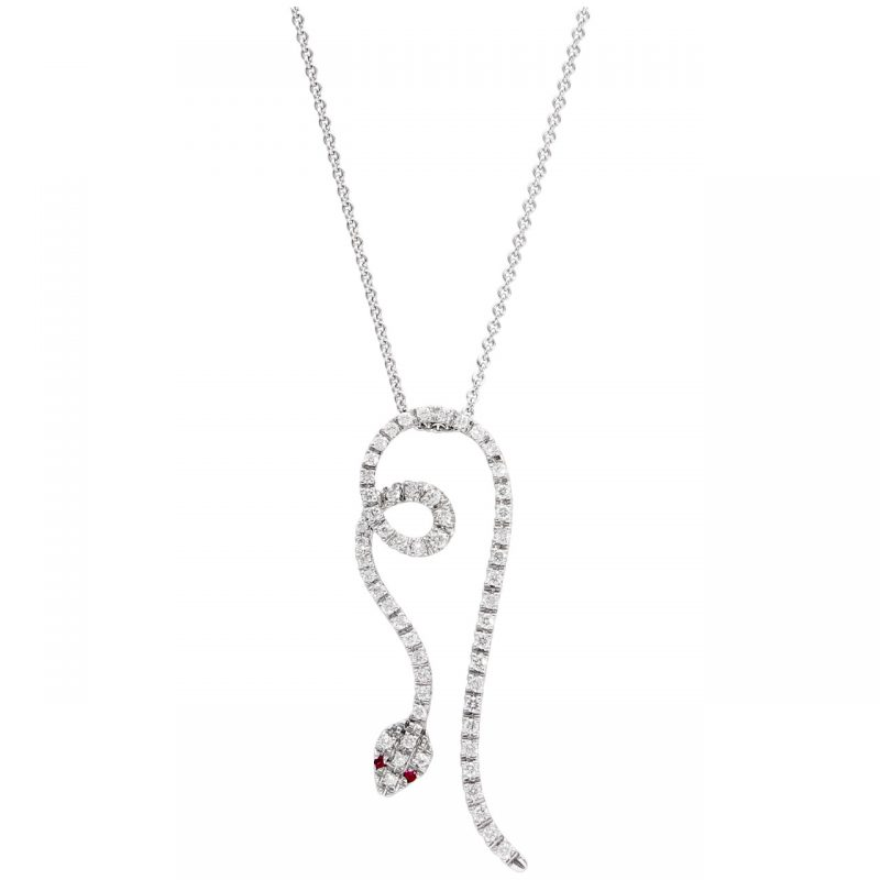 White gold necklace with diamond snake and rubies
