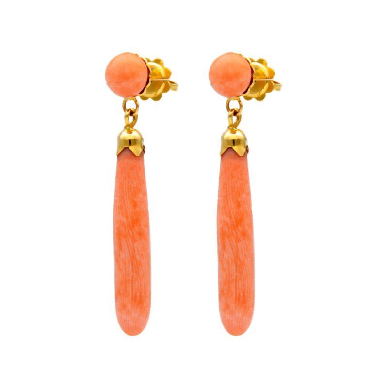 Gelbgold ohrringe mit rosa Korallen