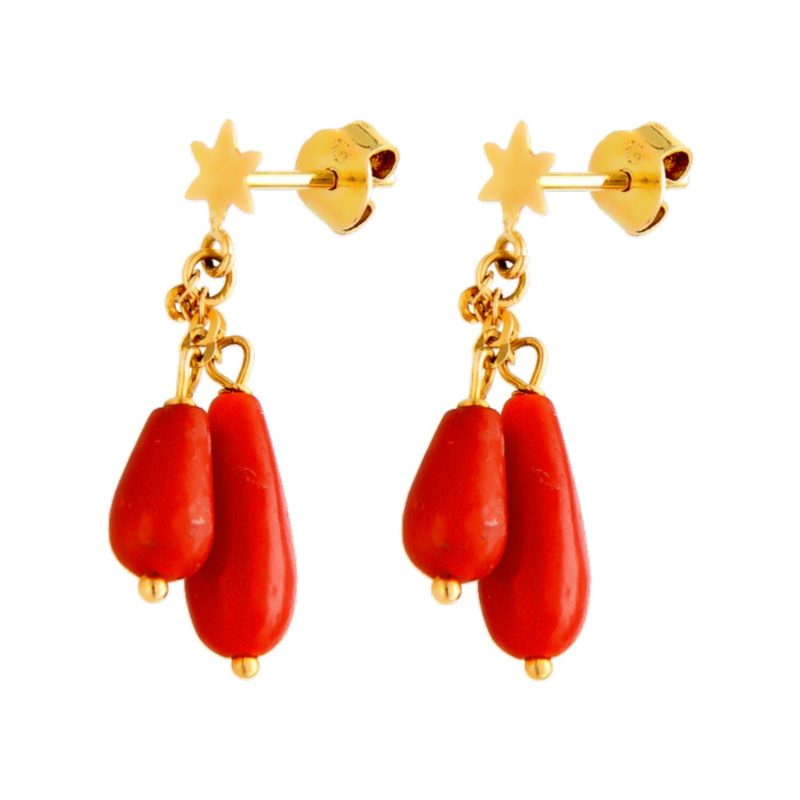 Orecchini in oro giallo stella e Coralli rossi