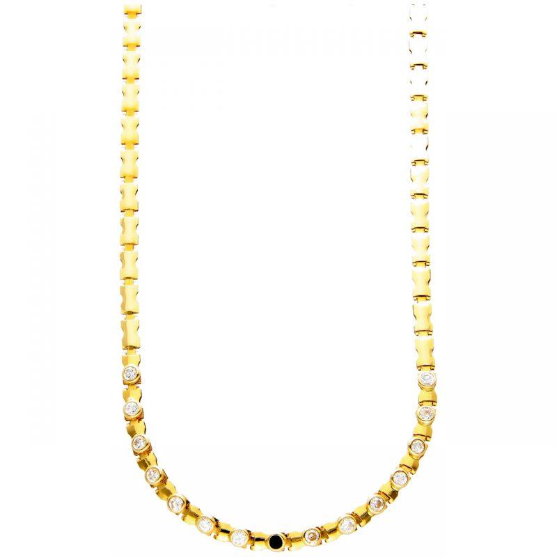 Cadena oro amarillo con ónix y circonones.