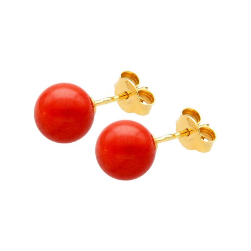 Pendientes oro amarillo y coral rojo