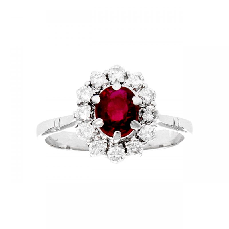 White gold ring with ruby ??and diamonds