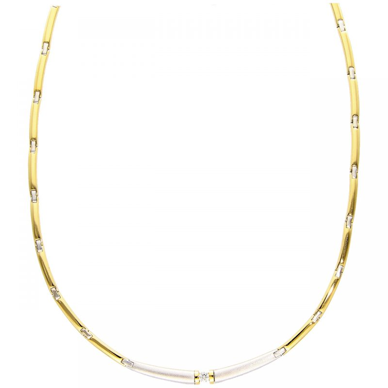 Collier yellow and white gold with diamond 0,15 ct