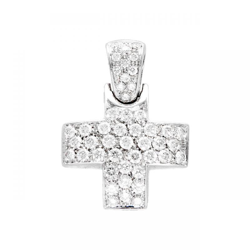 Cross pendant white gold with diamonds 1.94 ct VVS2