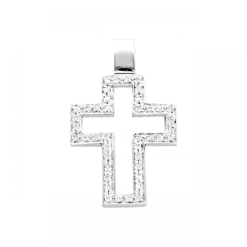 Colgante Cruz oro blanco con diamantes 0.43 ct