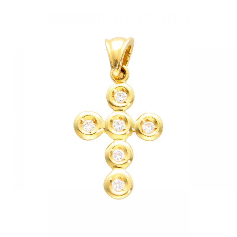 Cross pendant yellow gold with diamonds
