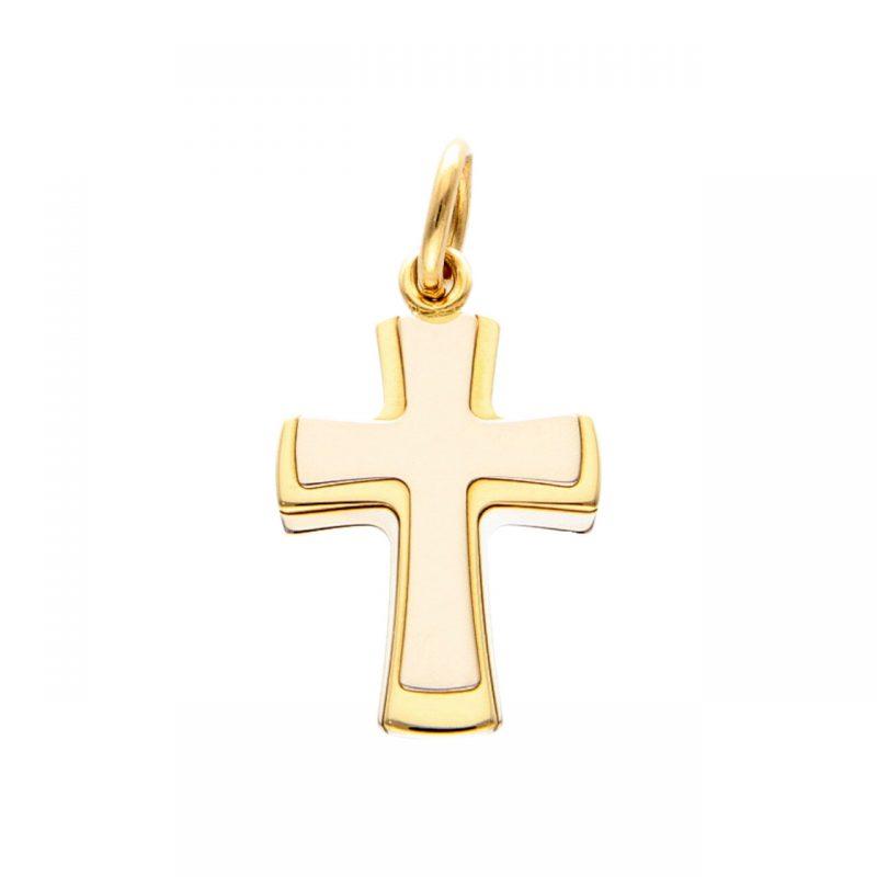 Ciondolo Croce in oro bianco e giallo