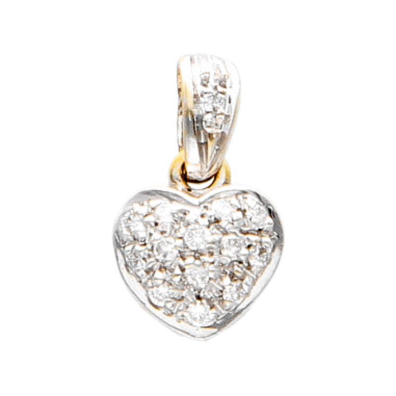 Ciondolo Cuore in oro bianco e giallo con Diamanti