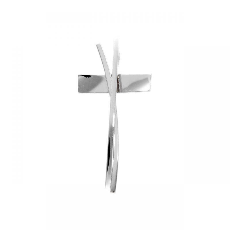 Moderner Kreuzanhänger aus Weißgold