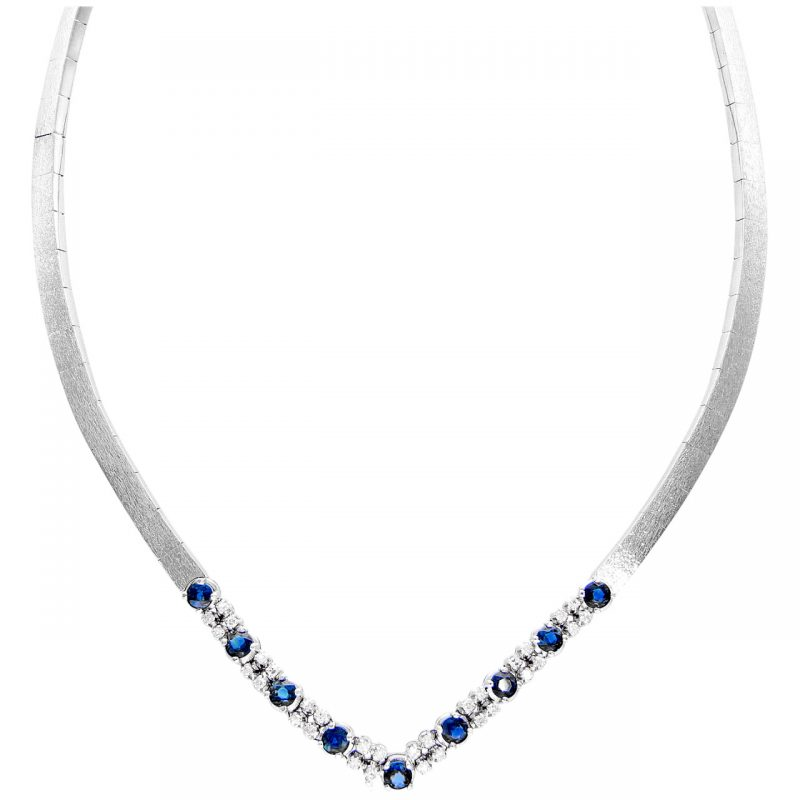Collier white gold with sapphires 1.35 ct and diamonds 0.32 ct