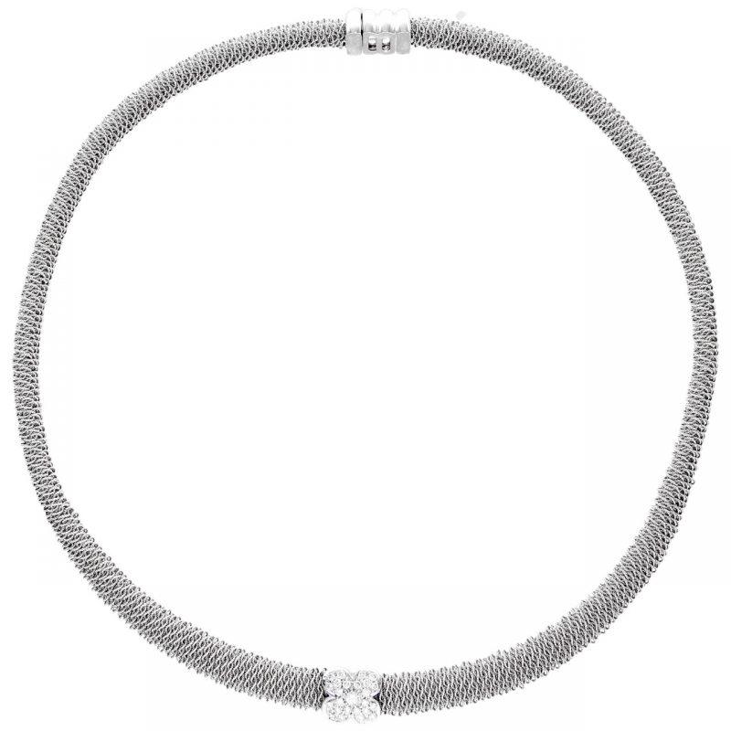 Collar oro blanco con diamantes 0.25 ct