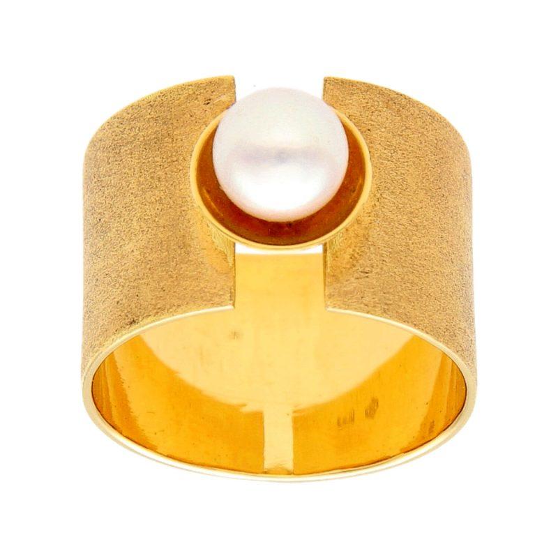 Anello oro giallo con Perla