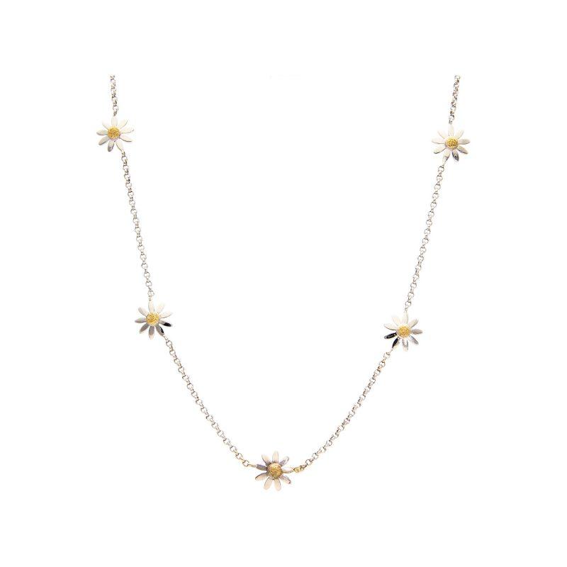 Halskette aus Weiß- und Gelbgold mit Gänseblümchen
