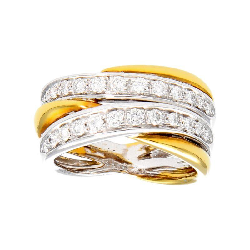 Anello oro bianco e giallo con Diamanti 0.82 ct.