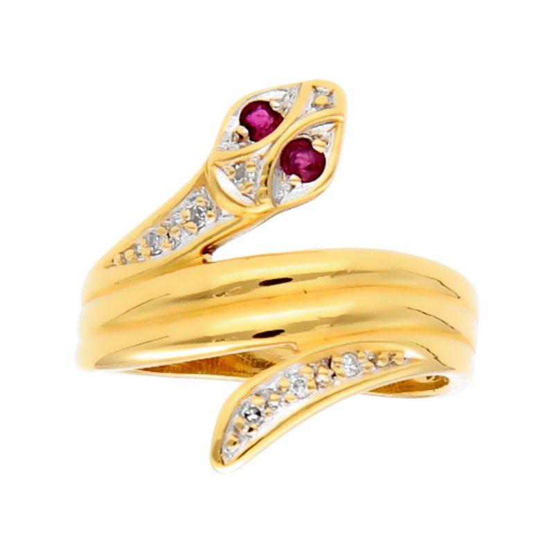 Anillo serpiente oro amarillo con rubí y diamantes