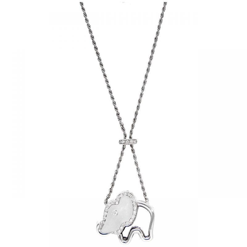Collana oro bianco con ciondolo elefante in Agata bianca e Diamanti 0.31 ct