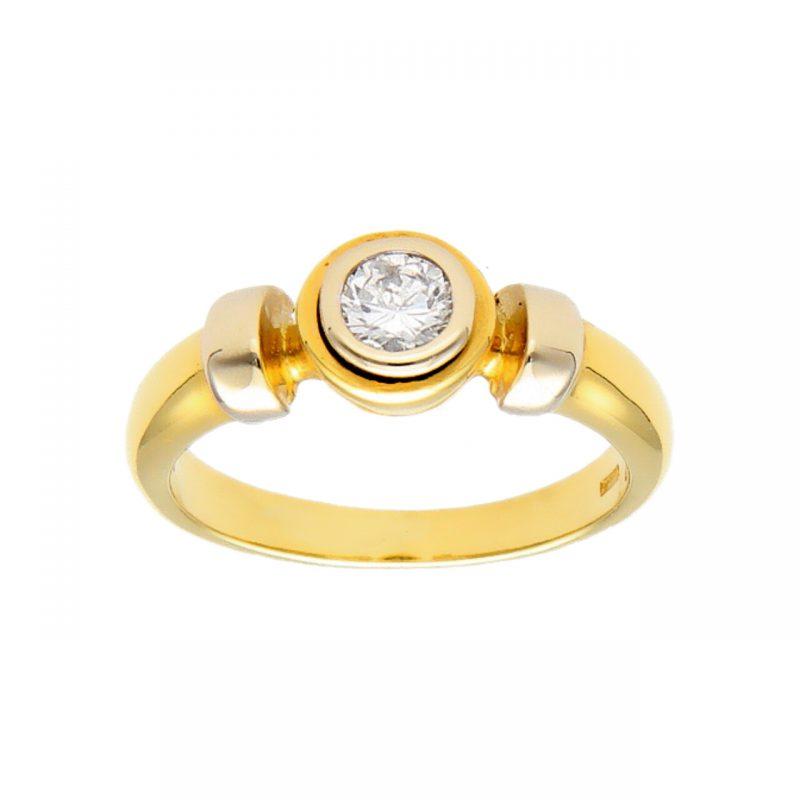 Ringaus Weiß und Gelbgold mit natürlichem Diamant 0,22 ct