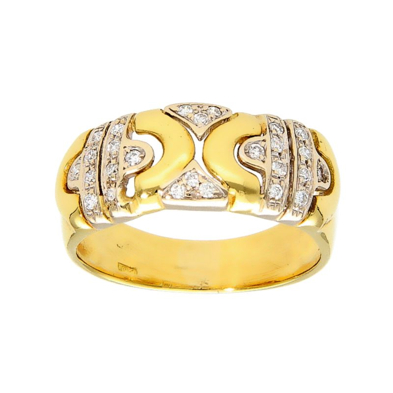 Yellow gold ring with diamonds 0.27 ct.