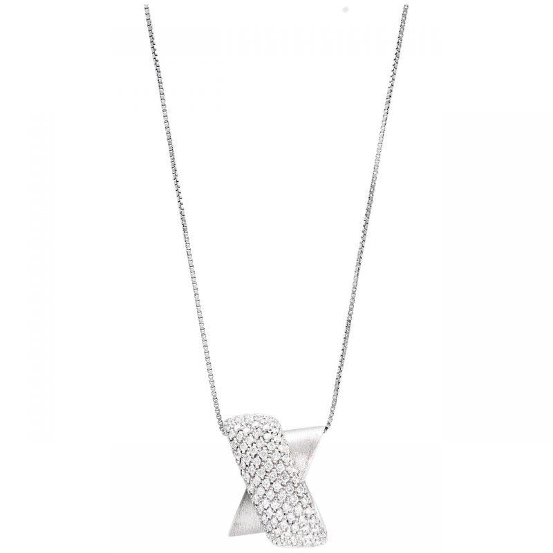 Collana con ciondolo moderno oro bianco e Diamanti 1.92 ct