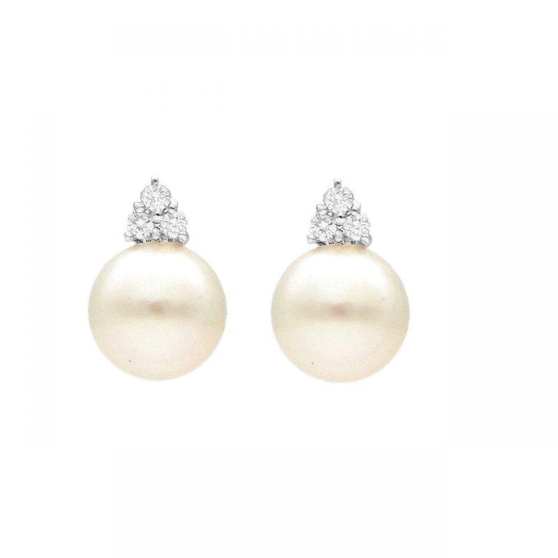 Orecchini in oro bianco perle e Diamanti 0,30 ct