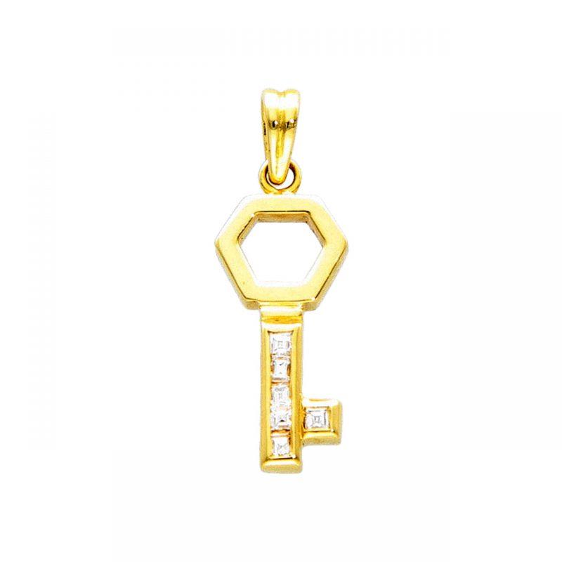 Colgante llave de oro amarillo y diamantes 0.12 ct