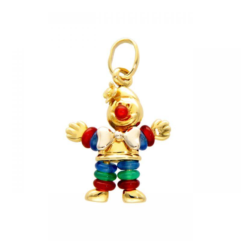 Yellow gold clown pendant