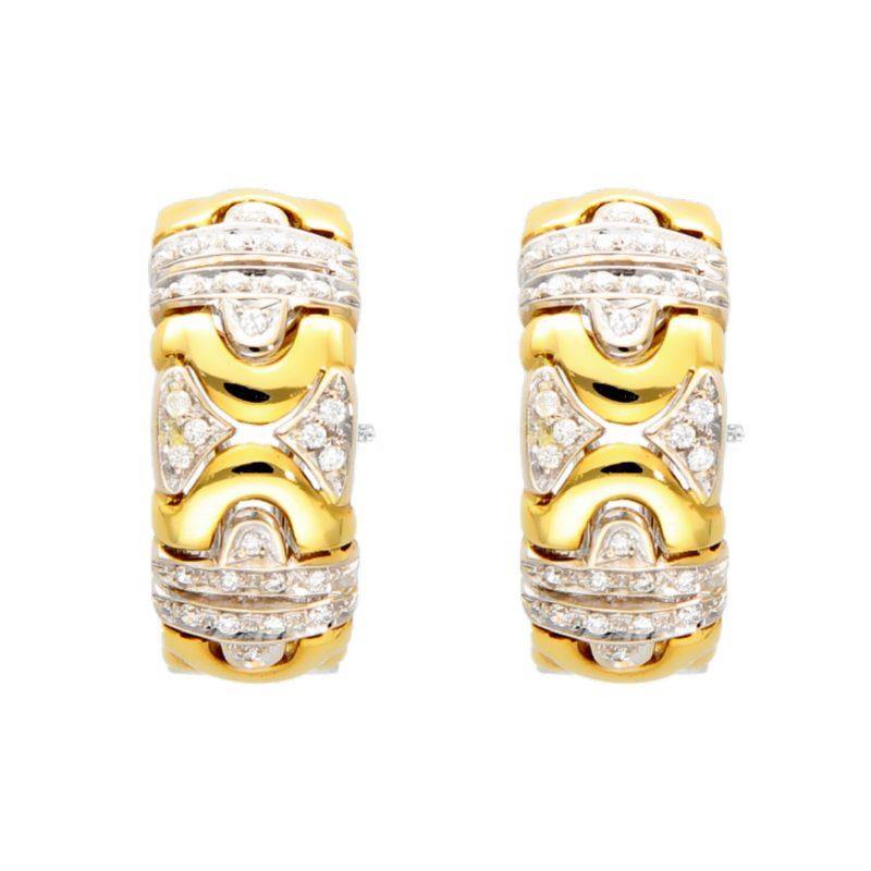 Pendientes dos orors con diamantes 0,52 ct.