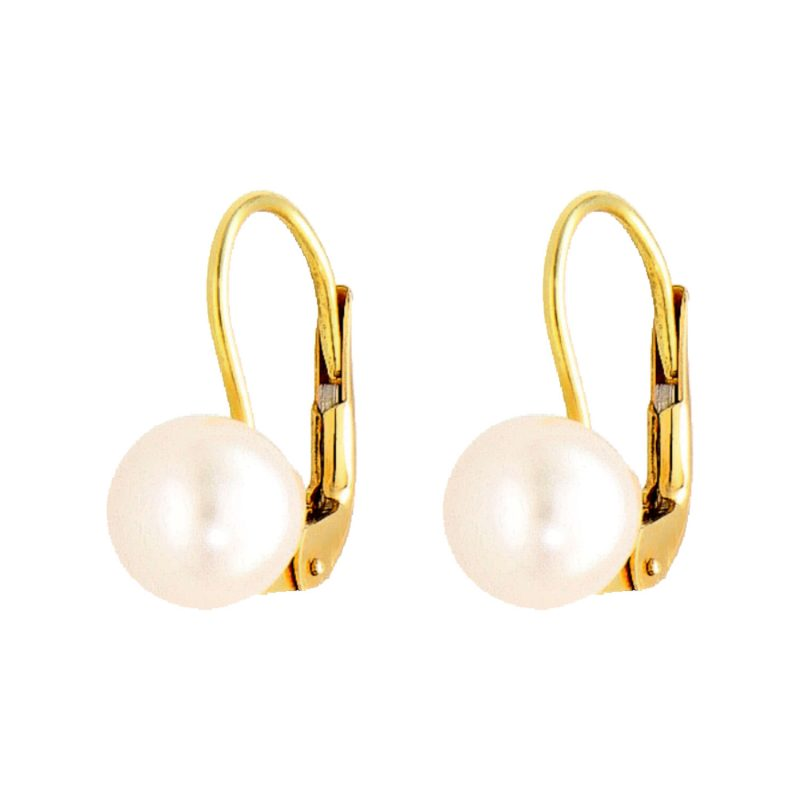 Yellow gold earrings with pearl