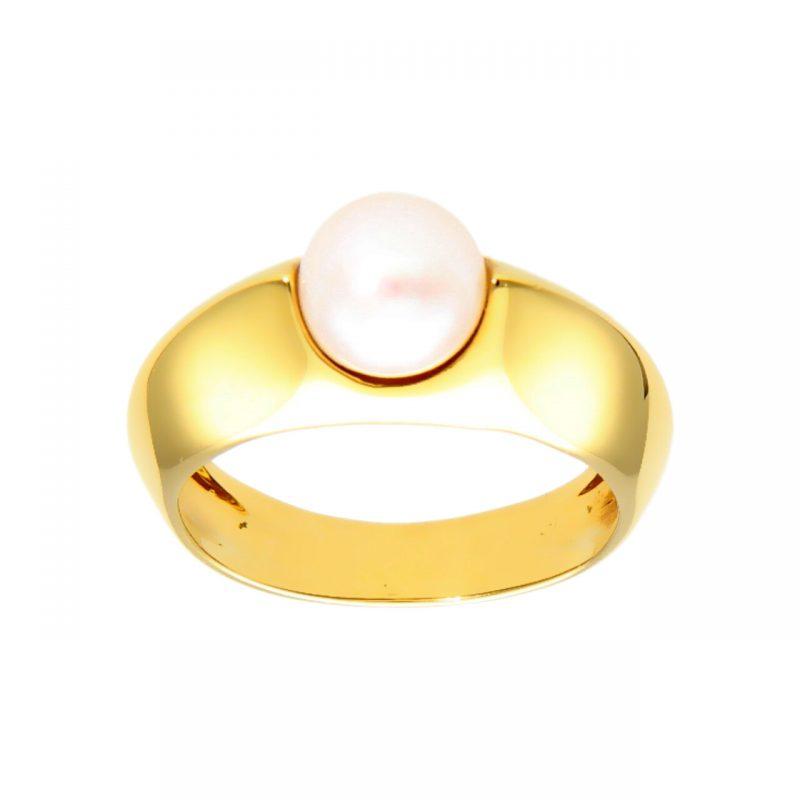 Anello moderno oro giallo con Perla